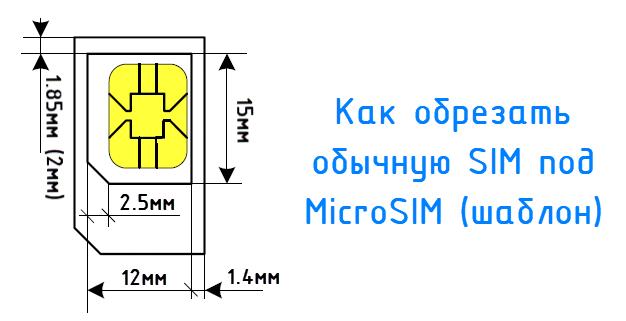 Как обрезать симку под микро (шаблон)